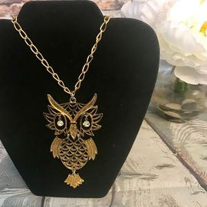 Jewelry - Long Chain Gold Toned 1970's Accent Owl Necklace